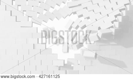 Collapsing brick wall. 3D illustration