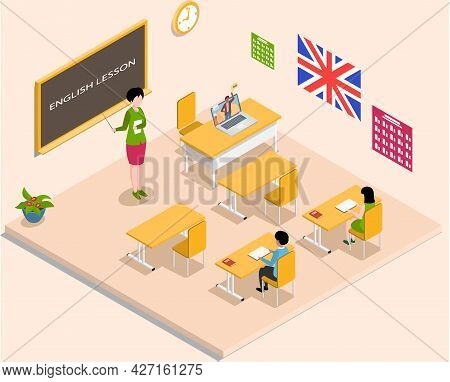 School Education Isometric Teacher And Pupil At English Lesson. Learning Process In Classroom. High