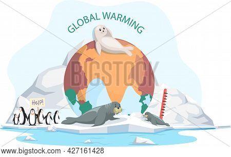 White Seal And Sea Bear Lies On Ice Floe. Wild Animals Penguins Need Help On Glacier In Antarctica.