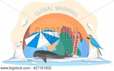 Melting Glaciers Environmental Problem Of North Pole. Animals In Global Warming. Whale Lies On An Ic