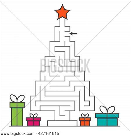 Cristmas Tree Maze Labyrinth Game For Kids. Labyrinth Logic Conundrum. One Entrance And One Right Wa