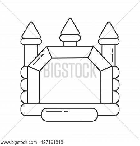 Bouncy Castle Outline Icon. Jumping House On Kids Playground. Outline Vector Illustration.