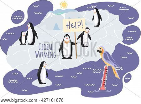 Wild Birds Living In Antarctica Suffer From Global Warming. Cute Penguins On Ice Floe Asking For Hel
