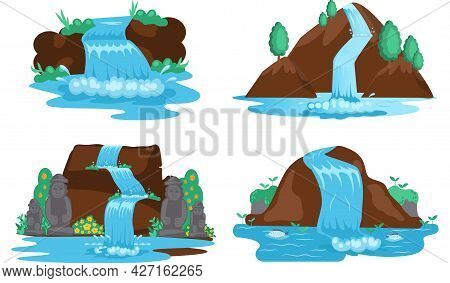 Falling Water. River Waterfall Falls From Cliff White Background. Water Fall Streams. Picturesque To
