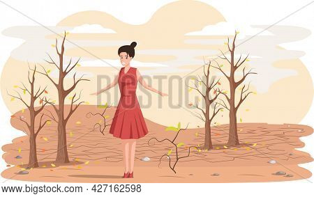 Dried, Hot And Lifeless Land With Cracks. Change Climate Concept, Environmental Pollution Theme With