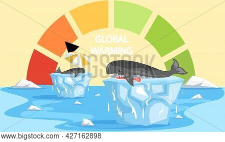 Scale With Indicator Of Global Warming On Planet Earth. Animals During Global Warming Concept. Earth