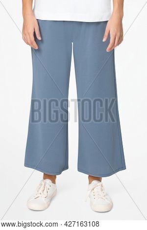 Blue culottes pants women's apparel closeup