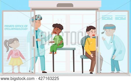 Doctors Examine, Treat Children And Adults In Private Office Of Tolaryngologist. Medical Care, Work