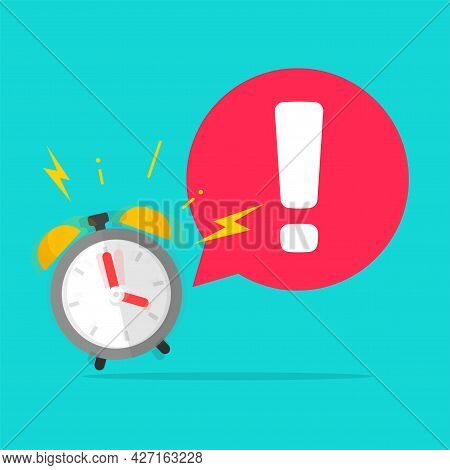 Urgency Time To Action Important Reminder Caution Exclamation Message With Alarm Clock Ringing With
