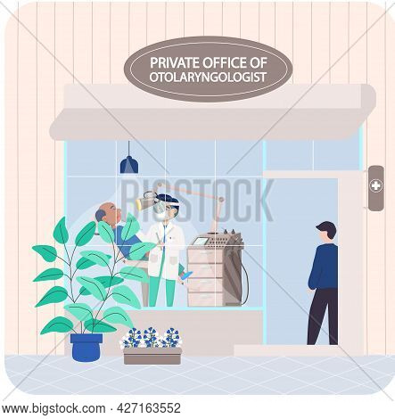 Private Office Of Otolaryngologist For Treatment Of Patients. Doctor Examines And Consults Sick Man