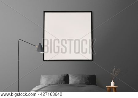 Minimal bedroom interior design in gray tone