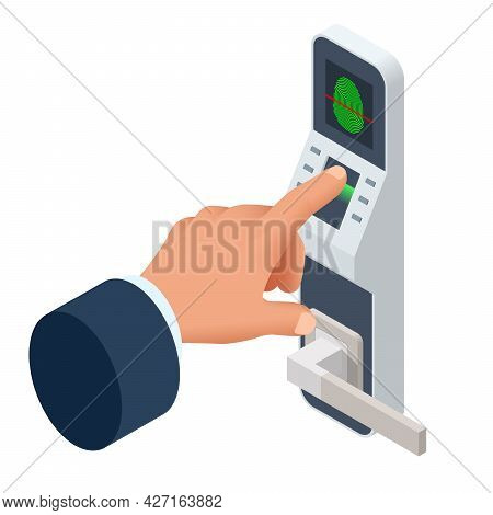 Isometric Finger Print Scan For Enter Security System, Biometric Access Control. Digital Touch Scan