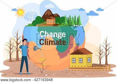 Dried, Hot And Lifeless Land With Cracks. Change Climate, Environmental Pollution Theme With Man Wat