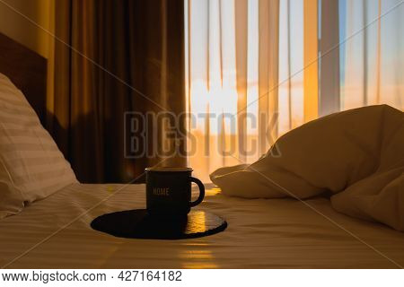 Coffee In Bed With Sunbeams.morning In Bed With Coffee.the Magic Of The Morning.steaming Coffee At D