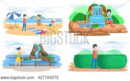 Set Scenes With Young Tourists At Showplaces, Traveling People Going On Vacation Trip. Travel And To