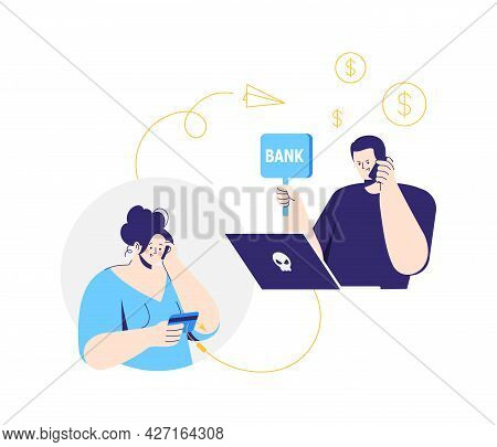 Online Crime. A Man Pretending To Be A Bank Clerk. A Fraudster Calls To Woman On The Phone And Asks