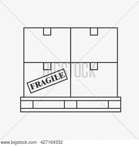 Boxes On A Pallet Line Icon Illustration For Logistics. Vector Design Isolated On White Background.
