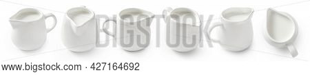Set Of Porcelain Milk Jars Isolated On White Background. Milk Pitchers For Package Design. Collectio