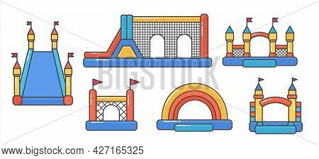 Set Of Bouncy Inflatable Castle. Tower And Equipment For Child Playground. Vector Color Line Illustr