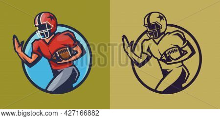 American Football Player Holding Ball In Different Styles. Sport Concept Art.