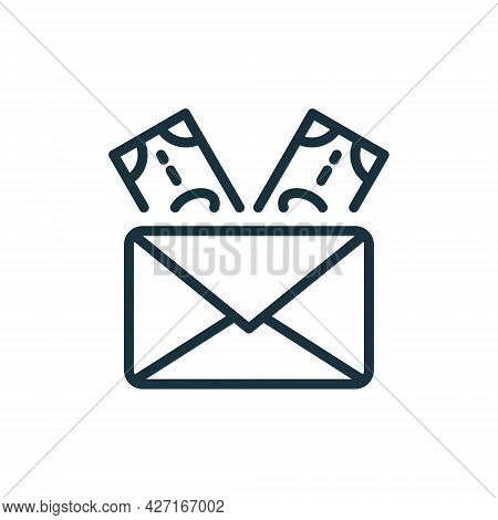 Envelope With Money Linear Icon. Financial Gift, Donation And Charity Pictogram. Banknote In Envelop