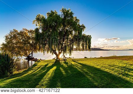 Magnificent sunset. Warm evening on the lake. New Zealand. The largest Lake Taupo. The magnificent lake is a popular holiday destination for tourists