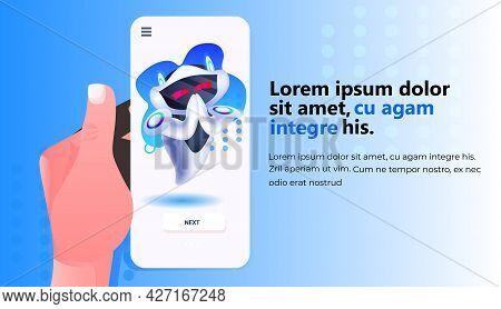 Cute Robot Cyborg On Smartphone Screen Modern Robotic Character Artificial Intelligence Technology C