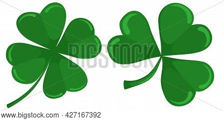 Four Leaf Clover Isolated On White, Vector Illustration For St. Patrick Day