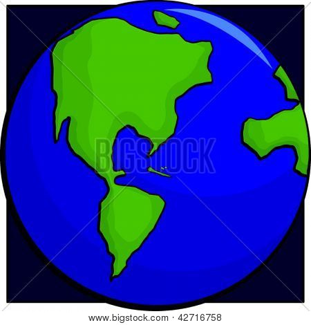 Illustration of earth planet with America