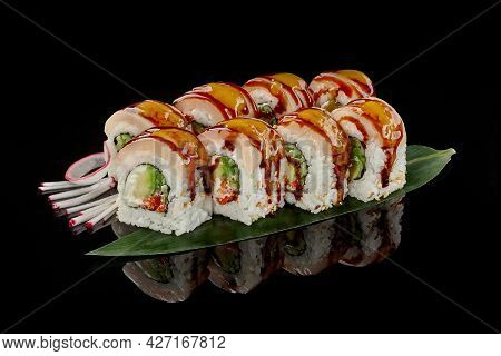 Sushi Rolls With Butterfish, Cream Cheese, Cucumber, Tobiko
