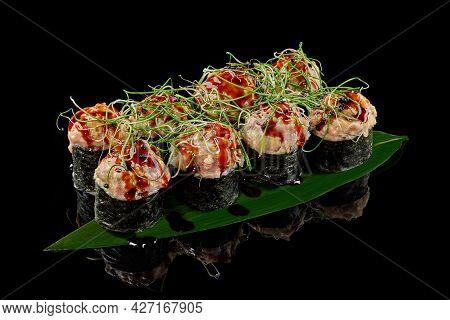Baked Makizushi Roll With Tuna, Cream Cheese, Cucumber, Unagi Sauce