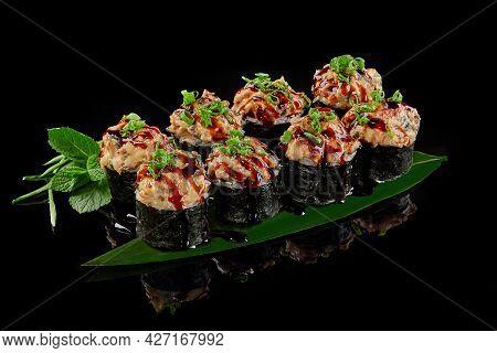 Baked Maki Sushi Roll With Eel, Cream Cheese, Cucumber And Unagi Sauce