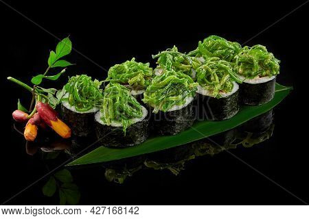 Vegetable Makizushi Rolls With Wakame Seaweed, Asparagus, Bell Pepper