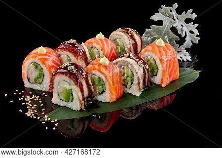 Philadelphia Rolls With Salmon And Eel, Shrimp, Cream Cheese, Cucumber And Avocado