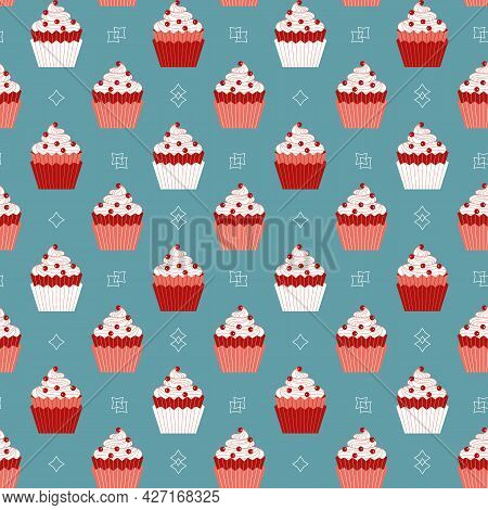 Cupcakes With Red Berries Minimalist Seamless Vector Pattern Background. Sweet Food Cartoon Design E
