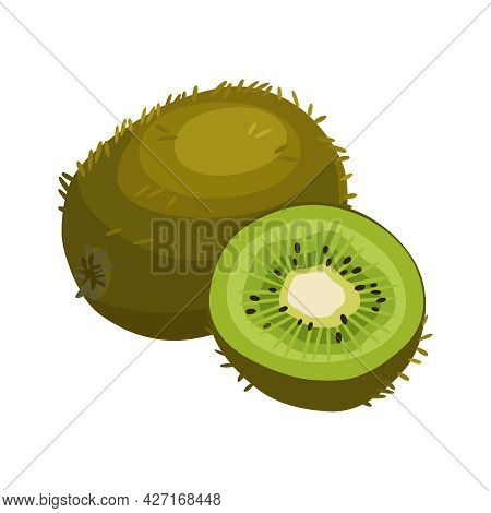 Summer Fruits For Health. Bright Kiwi Fruit Whole And Cut Into Slice On White Background. Cartoon Fl