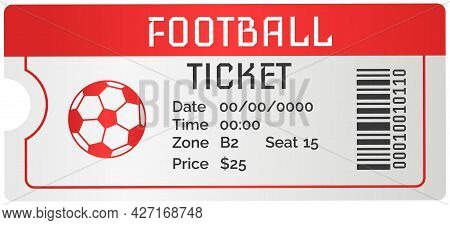 Football Ticket Card Modern Design. Invitation To Football Match To Sports Stadium To Competition. P