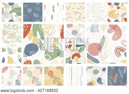 Abstract Pattern Set With Organic Shapes In Pastel Colors Blue, Green. Organic Background With Spots
