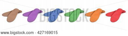Multicolored Orthopedic Insoles On A White Background. Treatment And Prevention Of Flat Feet And Foo