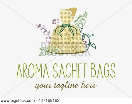 Abstract Logo For Homemade Aroma Sachet Bags. Aromatherapy Sign. Homemade Craft Emblem.