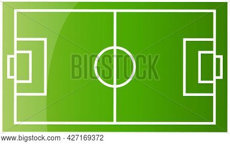 Top View Of Soccer Field Or Football Field Flat Vector Illustration Green Grass Playground With Sche