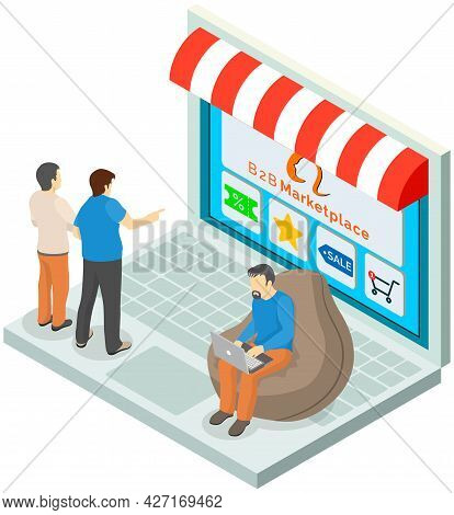 B2b Marketplace, Online Shop, Customers Choosing Products At Website, Discount, Special Price, Sale