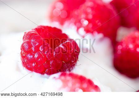 Homemade Organic Yogurt With Raspberries Berries. Tasty Breakfast. Healthy Living Concept
