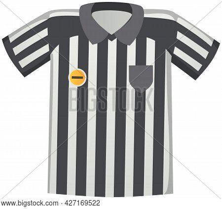 Sport Uniform Black And White Striped Jersey, Soccer Match Referee Shirt Flat Vector Clothing Elemen