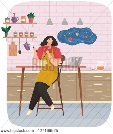 Young Woman Cooking Salad In Kitchen. Household Activity, Housekeeping, Everyday Duties And Chores.