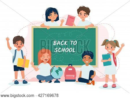 School Children In Class With A Blackboard, Back To School Concept, Cute Characters. Vector Illustra