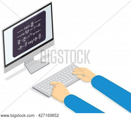 Computer Programmers Working And Typing Concept. Software Developer Code Sample, Programming On Scre