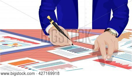 Businessman Working With Documents Sitting At Table Signs Contract With Business Partners. Male Hand