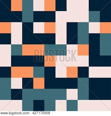 Seamless Square Tile Random Vibrant Teal And Orange Pattern Vector Background