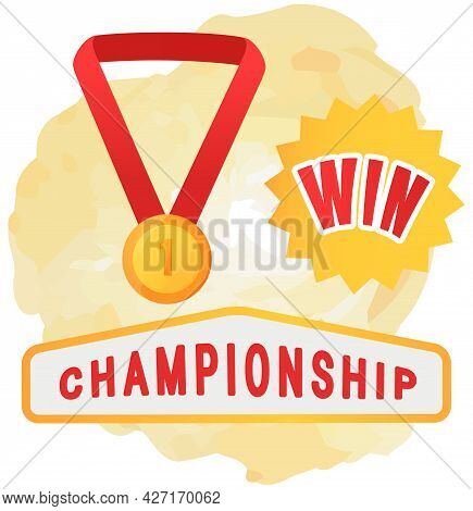 Gold Medal On Red Ribbon Conceptual Of Award For Victory Winning First Placement, Winner Symbol Achi